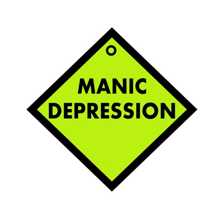 manic: MANIC DEPRESSION black wording on quadrate green background Stock Photo