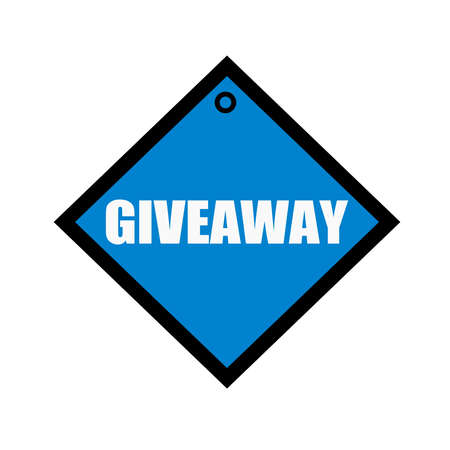 giveaway: Giveaway white wording on quadrate blue background Stock Photo