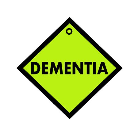 wording: DEMENTIA black wording on quadrate green background