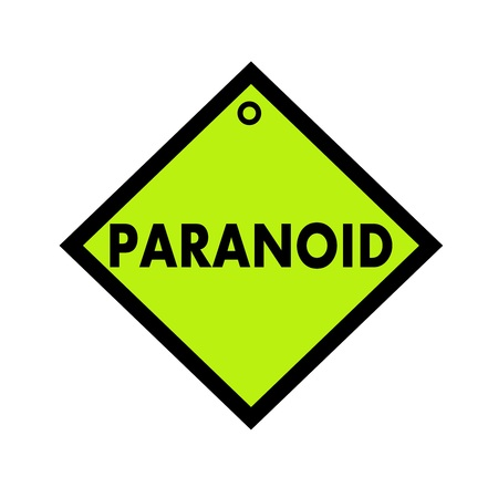 paranoid: PARANOID black wording on quadrate green background