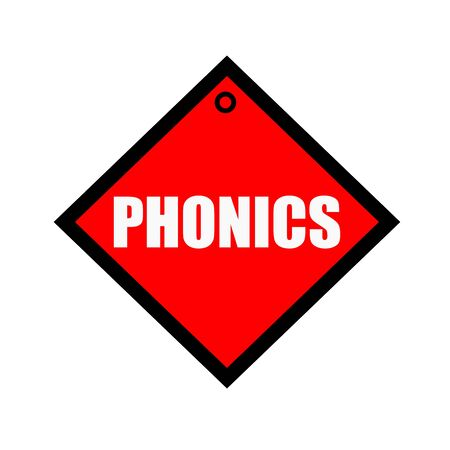phonics: phonics black wording on quadrate red background