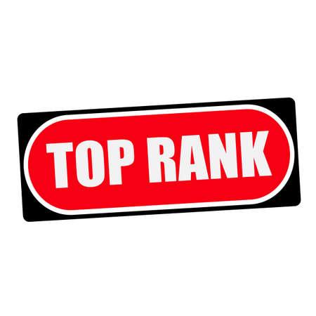 rank: top rank white wording on red background  black frame Stock Photo