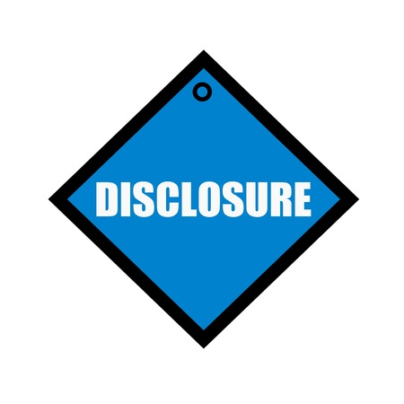 disclosure: disclosure white wording on quadrate blue background