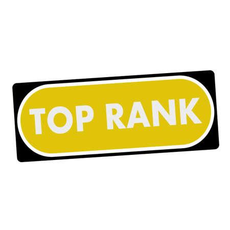 rank: top rank white wording on yellow background  black frame