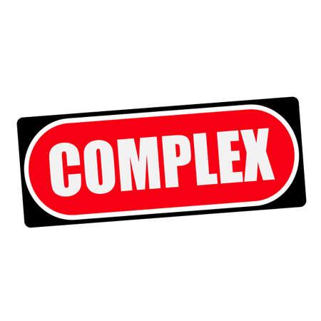 complex: complex white wording on red background  black frame