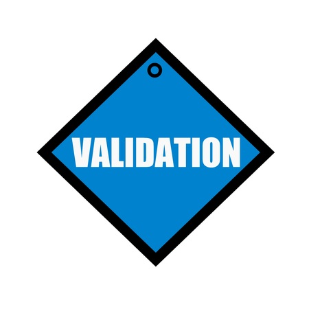 validation: VALIDATION white wording on quadrate blue background Stock Photo