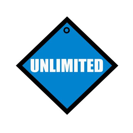 unlimited: unlimited white wording on quadrate blue background Stock Photo