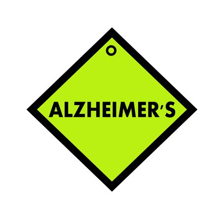 wording: ALZHEIMERS black wording on quadrate green background Stock Photo