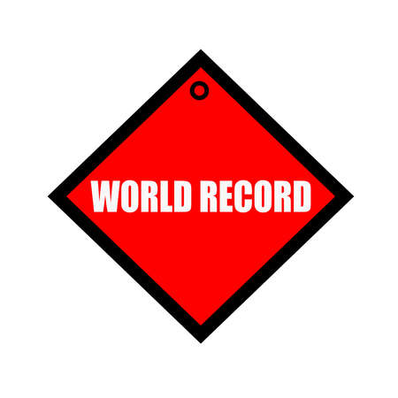 world record: WORLD RECORD black wording on quadrate red background