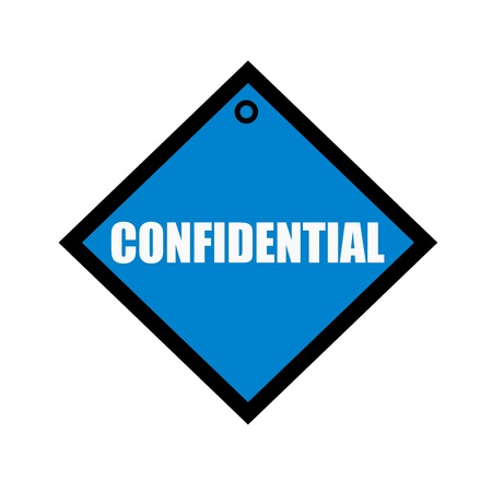 wording: confidential white wording on quadrate blue background Stock Photo