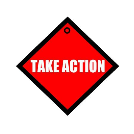 take action: Take Action black wording on quadrate red background