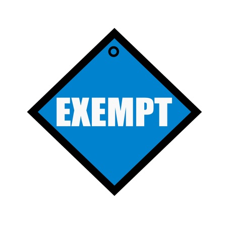 exempt: EXEMPT white wording on quadrate blue background