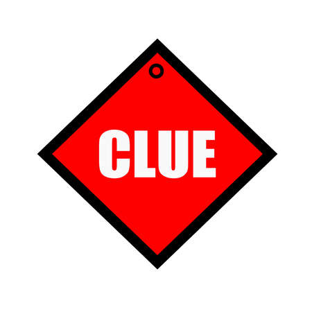 clue: Clue black wording on quadrate red background