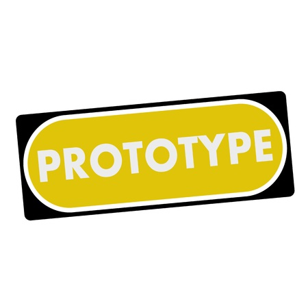 prototype: prototype white wording on yellow background  black frame Stock Photo