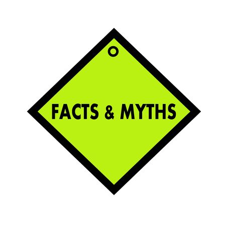 myths: Facts and Myths black wording on quadrate green background Stock Photo