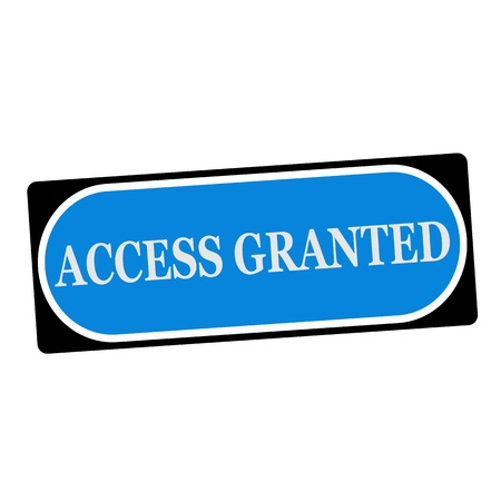 granted: access granted white wording on blue background  black frame Stock Photo