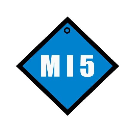 wording: MI5 white wording on quadrate blue background Stock Photo