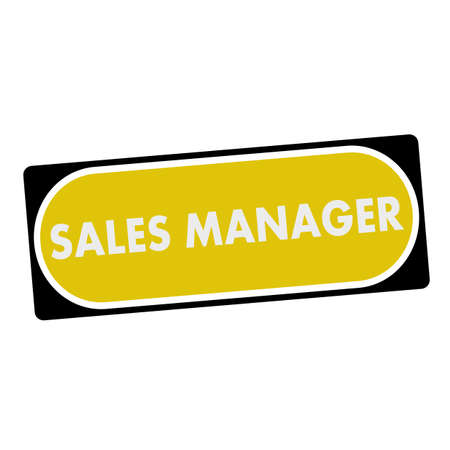 sales manager: sales manager white wording on yellow background  black frame
