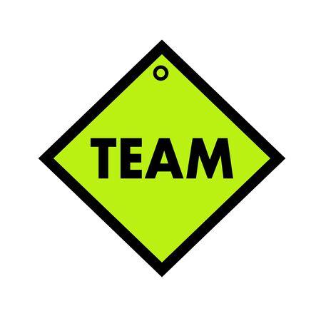 quadrate: Team black wording on quadrate green background Stock Photo