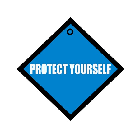 quadrate: Protect yourself white wording on quadrate blue background