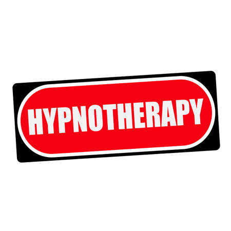 hypnotherapy: HYPNOTHERAPY white wording on red background  black frame