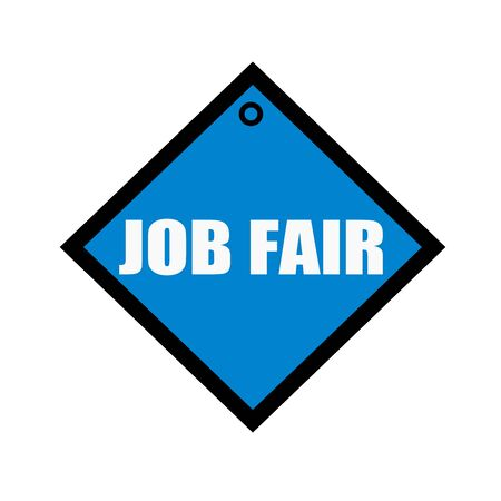 quadrate: Job Fair white wording on quadrate blue background Stock Photo