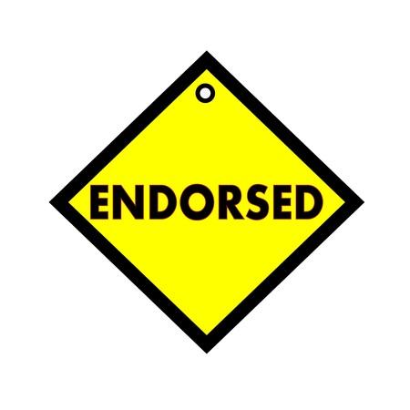 endorsed: ENDORSED black wording on quadrate yellow background Stock Photo