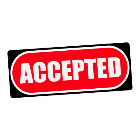 accepted: accepted white wording on red background  black frame Stock Photo