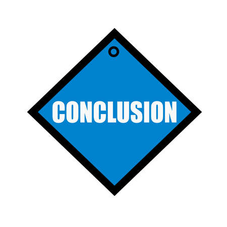 conclusion: conclusion white wording on quadrate blue background Stock Photo