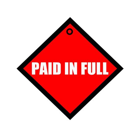 paid: paid in full black wording on quadrate red background