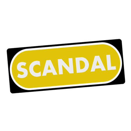 scandal: scandal white wording on yellow background  black frame