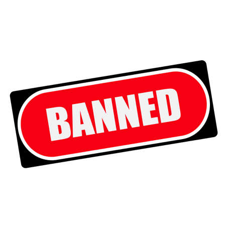 banned: BANNED white wording on red background  black frame Stock Photo