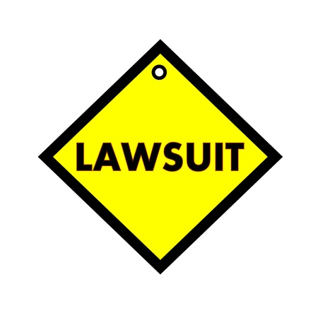 lawsuit: LAWSUIT black wording on quadrate yellow background
