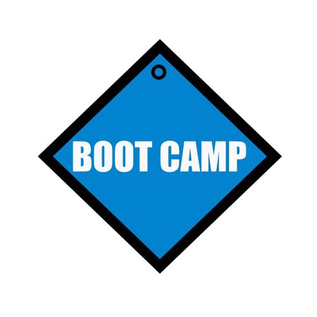 quadrate: boot camp white wording on quadrate blue background Stock Photo