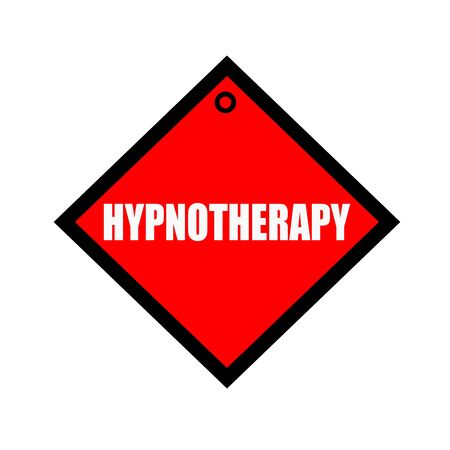 hypnotherapy: HYPNOTHERAPY black wording on quadrate red background Stock Photo