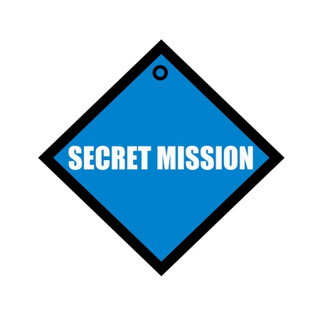 quadrate: Secret Mission white wording on quadrate blue background