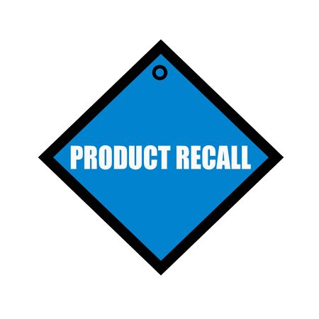 recall: PRODUCT RECALL white wording on quadrate blue background Stock Photo