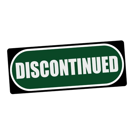 discontinued: Discontinued white wording on green background  black frame