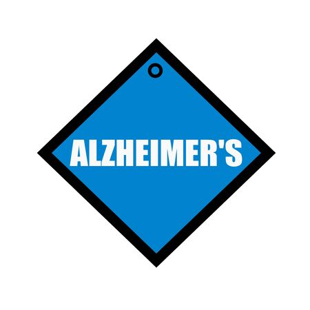 alzheimer's: ALZHEIMERS white wording on quadrate blue background