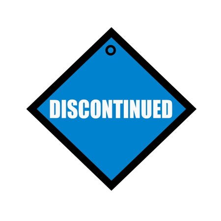discontinued: Discontinued white wording on quadrate blue background