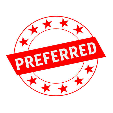 preferred: Preferred white wording on red Rectangle and Circle red stars