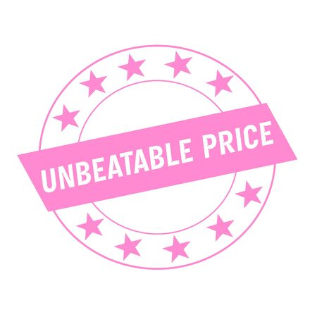 unbeatable: UNBEATABLE PRICE white wording on pink Rectangle and Circle pink stars Stock Photo