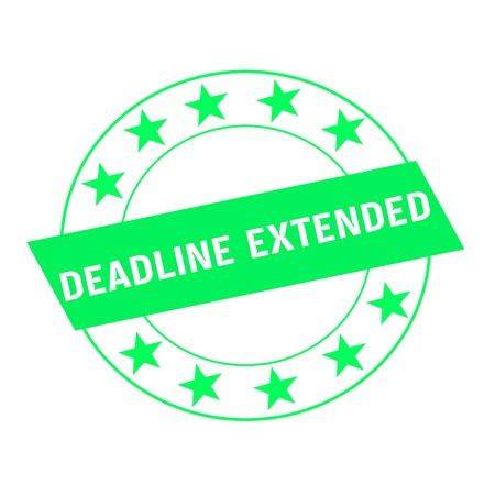 extended: deadline extended white wording on green Rectangle and Circle green stars