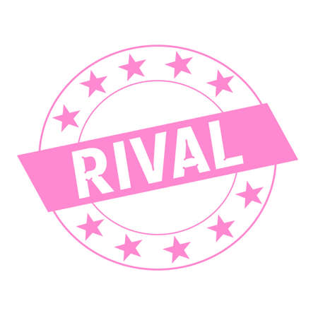 rival: RIVAL white wording on pink Rectangle and Circle pink stars