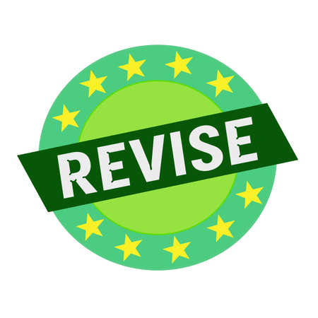revise: REVISE white wording on green Rectangle and Circle green stars