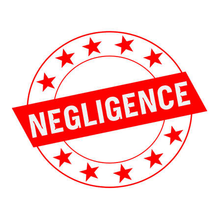 negligence: NEGLIGENCE white wording on red Rectangle and Circle red stars Stock Photo