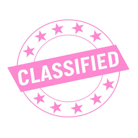 classified: Classified white wording on pink Rectangle and Circle pink stars