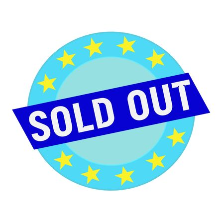 sold out: sold out white wording on blue Rectangle and Circle blue stars