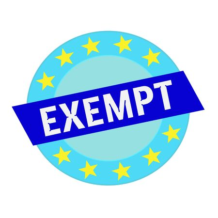 exempt: exempt white wording on blue Rectangle and Circle blue stars