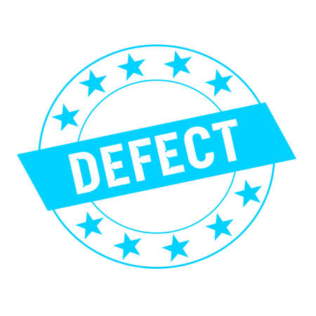 defect: Defect white wording on blue Rectangle and Circle blue stars